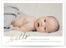 This is a gold foil stamped birth announcement by Heather Francisco called The Sweetest Hello with foil-pressed printing on smooth signature in standard.