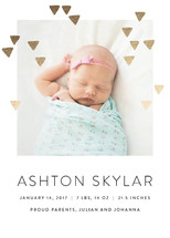 Modern Glow Foil-Pressed Birth Announcement Cards By Simona Cavallaro