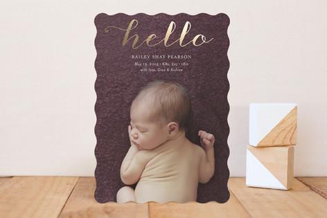 Metallic Hello Swirl Foil-Pressed Birth Announcements