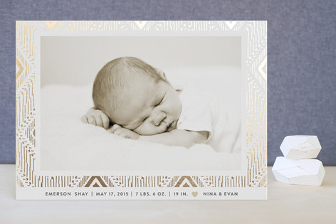 Framed Beauty Foil-Pressed Birth Announcements