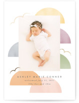 This is a white foil stamped birth announcement by Angela Garrick called deconstructed rainbow with foil-pressed printing on smooth signature in standard.
