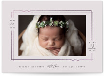 This is a purple foil stamped birth announcement by Sarah Brown called Precious with foil-pressed printing on smooth signature in standard.