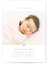 This is a white foil stamped birth announcement by Carolyn Nicks called Love Bug with foil-pressed printing on smooth signature in standard.