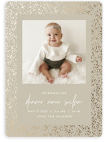This is a brown foil stamped birth announcement by JoAnn Jinks called speckle with foil-pressed printing on smooth signature in standard.