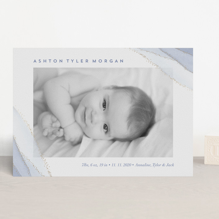 """The Touch of Agate"" - Modern Foil-pressed Birth Announcements in Indigo by Petra Kern."
