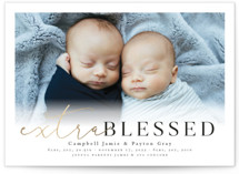 This is a black foil stamped birth announcement by Lea Delaveris called Extra blessed with foil-pressed printing on smooth signature in standard.