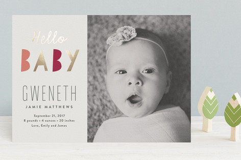 Bright Baby Foil-Pressed Birth Announcements