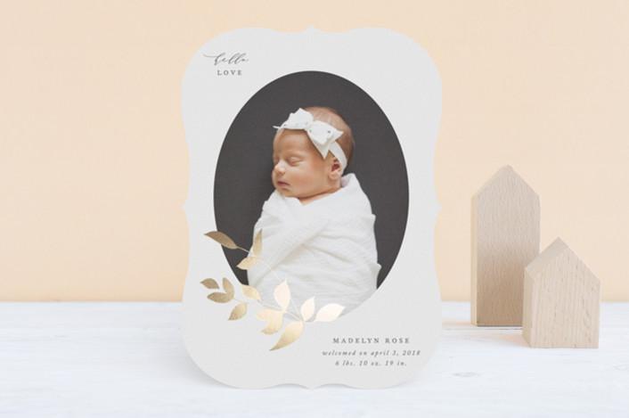 """Foiled Branch"" - Foil-pressed Birth Announcements in Cotton by Jennifer Postorino."