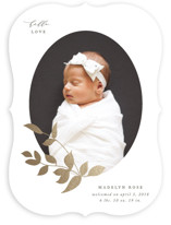 This is a white foil stamped birth announcement by Jennifer Postorino called Foiled Branch with foil-pressed printing on smooth signature in standard.