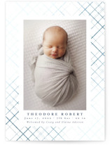 This is a blue foil stamped birth announcement by Meggy Masters called Delicate Plaid with foil-pressed printing on smooth signature in standard.