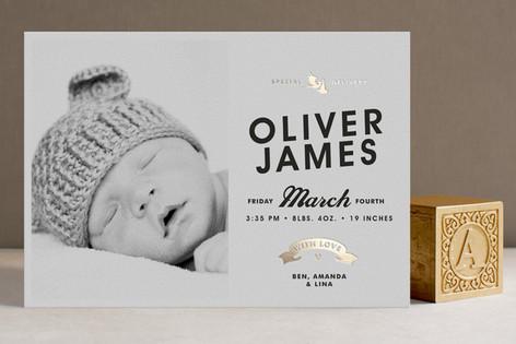 Vintage Label Foil-Pressed Birth Announcements