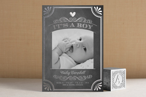 It's a Boy Vintage Chalkboard Foil-Pressed Birth Announcements