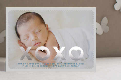 Hearts and Kisses Foil-Pressed Birth Announcements