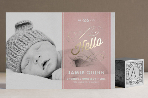Heirloom Scroll Foil-Pressed Birth Announcements