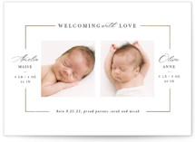 This is a white foil stamped birth announcement by Lori Wemple called Twining with foil-pressed printing on signature in standard.