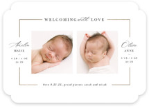 This is a white foil stamped birth announcement by Lori Wemple called Twining with foil-pressed printing on smooth signature in standard.