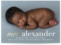 This is a gold foil stamped birth announcement by Creo Study called meet up with foil-pressed printing on smooth signature in standard.