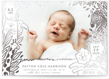 This is a grey foil stamped birth announcement by iamtanya called The land of happiness with foil-pressed printing on smooth signature in standard.