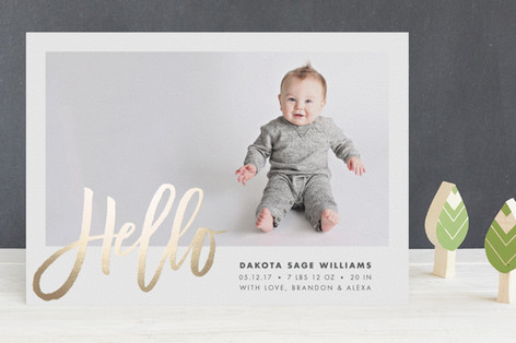 Sweet Hello Foil-Pressed Birth Announcements