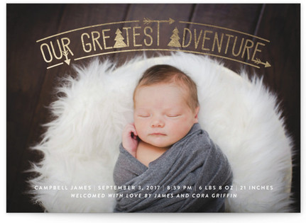Adventurous Tribal Foil-Pressed Birth Announcement Cards