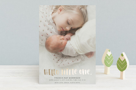 Handlettered Hello Little One Foil-Pressed Birth Announcements