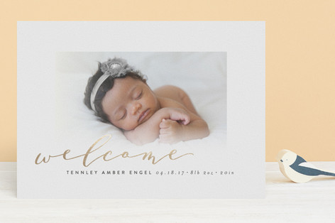 Scripted Welcome Foil-Pressed Birth Announcements