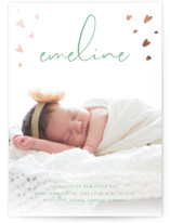 This is a green foil stamped birth announcement by Ellis called Tiny Hearts with foil-pressed printing on smooth signature in standard.