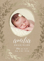 Gilded Garden Foil-Pressed Birth Announcement Cards By Sarah Curry