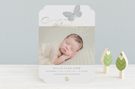 Fauna Foil-Pressed Birth Announcements