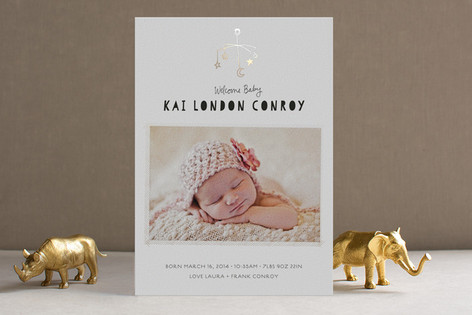 The Little Mobile Foil-Pressed Birth Announcements