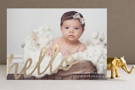A Simple Hello Foil-Pressed Birth Announcements