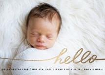 Stringed Hello Foil-Pressed Birth Announcement Cards By Moglea