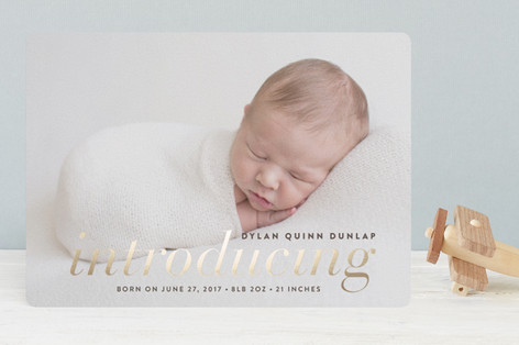 Little Intro Foil-Pressed Birth Announcements