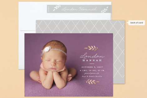 Heritage branch Foil-Pressed Birth Announcements