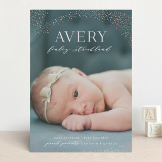 Lucky Stars Foil-Pressed Birth Announcements