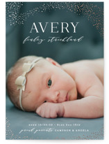 This is a white foil stamped birth announcement by Hooray Creative called Lucky Stars with foil-pressed printing on smooth signature in standard.