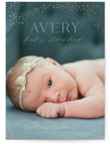 This is a green foil stamped birth announcement by Hooray Creative called Lucky Stars with foil-pressed printing on smooth signature in standard.