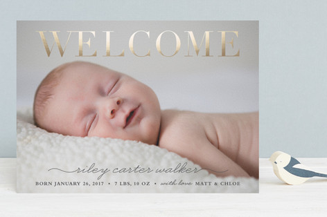 Stately welcome Foil-Pressed Birth Announcements