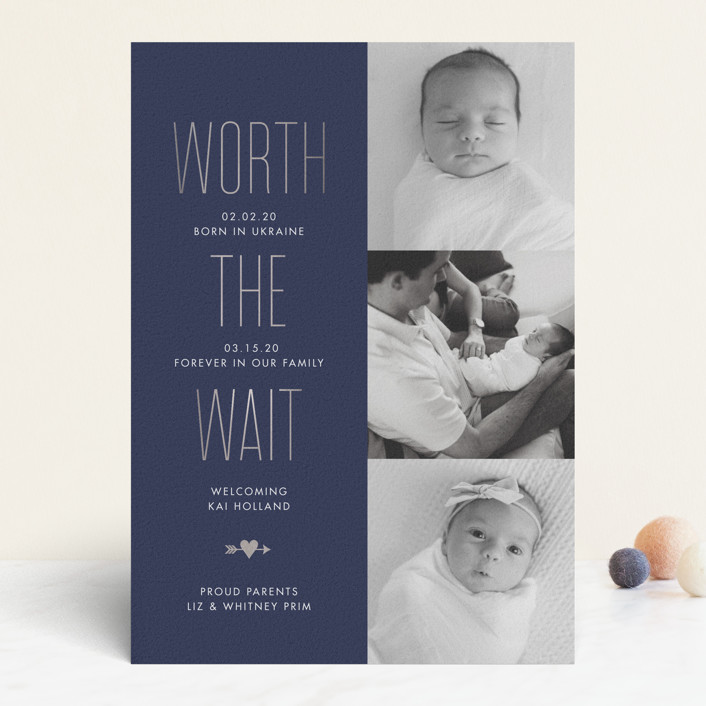 """""""Worthwhile"""" - Foil-pressed Birth Announcements in Slate by Sarah Brown."""