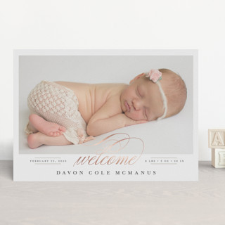 Delicate Foil-Pressed Birth Announcements