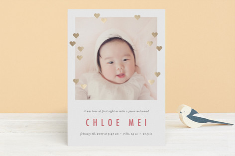 Glowing Love Foil-Pressed Birth Announcements