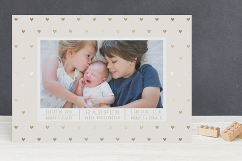 Little Hearts Frame BABY Foil-Pressed Birth Announcements