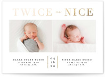 This is a gold foil stamped birth announcement by Erica Krystek called Twice As Nice with foil-pressed printing on smooth signature in standard.
