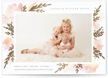 This is a gold foil stamped birth announcement by shoshin studio called faerie garden with foil-pressed printing on smooth signature in standard.