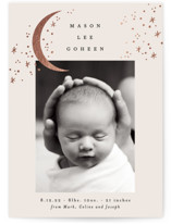 This is a beige foil stamped birth announcement by Alethea and Ruth called Crescent Moon and Stars with foil-pressed printing on smooth signature in standard.