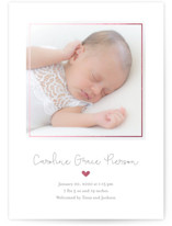 This is a gold foil stamped birth announcement by Erin Deegan called traditional golden heart with foil-pressed printing on smooth signature in standard.