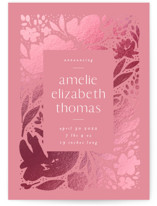 This is a pink foil stamped birth announcement by Robert and Stella called Floral Bookplate with foil-pressed printing on triplethick in standard.