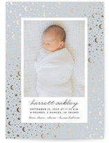 This is a blue foil stamped birth announcement by Erica Krystek called Starry Night with foil-pressed printing on smooth signature in standard.
