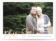 This is a orange foil stamped birth announcement by Bethany Anderson called Plus 1 with foil-pressed printing on smooth signature in standard.