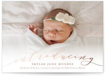 This is a pink foil stamped birth announcement by Sarah Brown called Treasured with foil-pressed printing on smooth signature in standard.